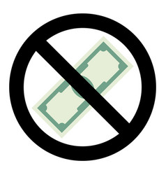 no cash money icon vector image