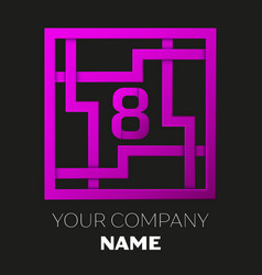 Number eight logo in colorful square maze vector