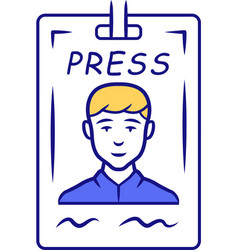 Press pass blue color icon journalist reporter id vector