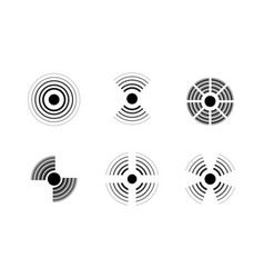 radar signal icons sonic waves black and white vector image