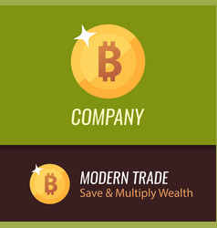 round coin sign of bitcoin - golden vector image