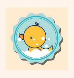 rubber duck bubbles toy banner bathroom vector image