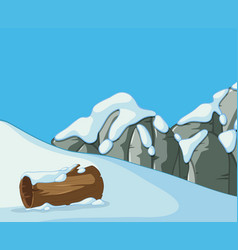 Scene with snow on the mountain vector