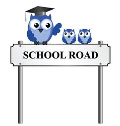 SCHOOL ROAD SIGN vector
