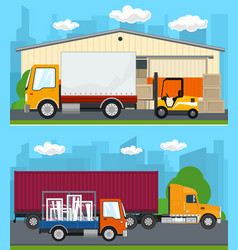 set of cargo services and storage vector image