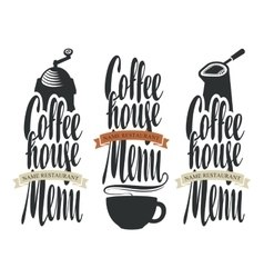 Set of logos for coffee house menu vector