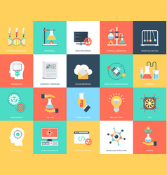 Set of science and technology flat icons vector