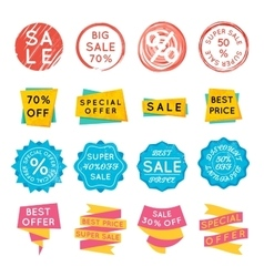 set special offer sale tags discount retail vector image