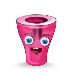 sharpener cartoon character happy smilling vector image