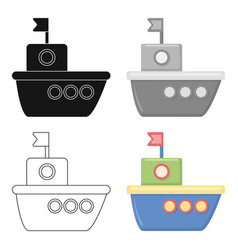 ship cartoon icon for web and mobile vector image