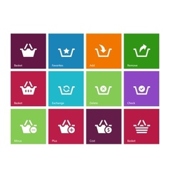 Shopping Basket icons on color background vector
