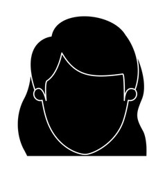 silhouette black faceless closeup front view woman vector image