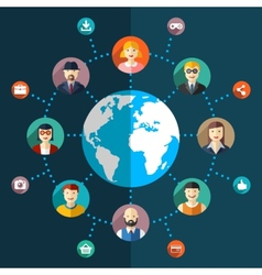 Social network flat with avatars earth vector image