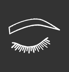 Soft arched eyebrow shape chalk icon vector