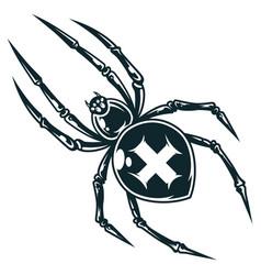 Spooky cross spider vector