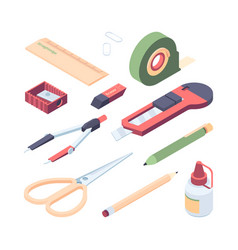 stationery items set color kit for colorful art vector image