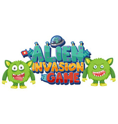 Sticker template for word alien invasion game vector