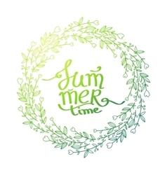 summer lettering floral background vector image