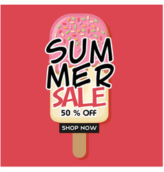 summer sale 50 off shop now ice cream pink backgr vector image