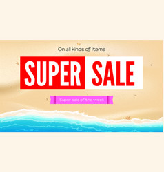 Summer sand of beach on the seashore selling ad vector
