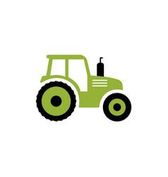 Tractor flat icon farm symbol isolated vector