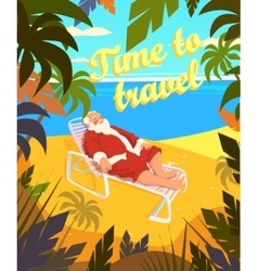 Tropical beach sun summer santa claus holiday vector image