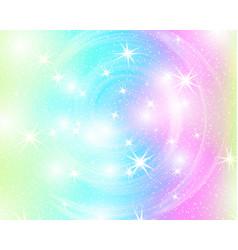 Unicorn rainbow background holographic sky in vector