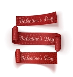 Valentines Day red textile Ribbons Set vector