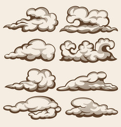 vintage engraving clouds hand drawn set vector image