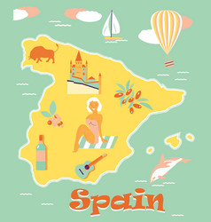 Vintage poster of spain with attractions and vector