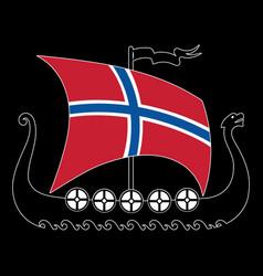 Warship of the vikings - drakkar and norway flag vector