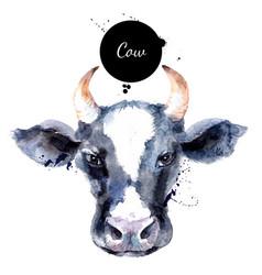 Watercolor hand drawn cow head painted sketch vector