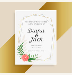 Wedding invitation template with flower and leaves vector
