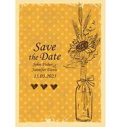 Wedding invitation with mason jar and sunflower vector image