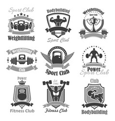 Weightlifting fitness gym sport club icons vector