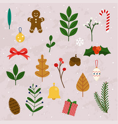 winter leaves and christmas items elements and vector image