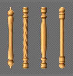 wooden door handles column and twisted knobs set vector image