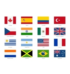 World flags in flat style vector