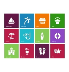 Beach icons on color background vector image vector image