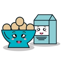 bowl full eggs with box milk cartoon isolated icon vector image