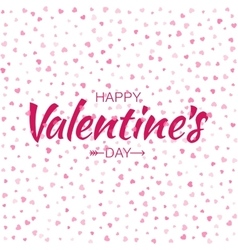 Pink Happy Valentines Day Card hearts background vector image
