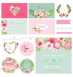 Scrapbook design elements - tropical flower theme vector
