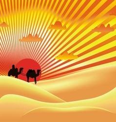 sun sky desert art vector image vector image