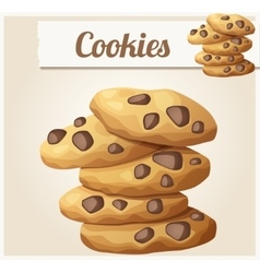 Choc chip cookies 2 detailed icon vector