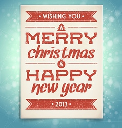 Christmas and New Year greeting card with typograp vector image