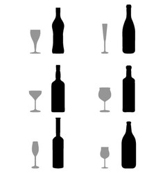 glasses and bottles vector image vector image