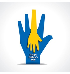 Happy fathers day with two hands of father child vector image vector image