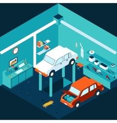 Isometric 3d garage car repair vector image vector image