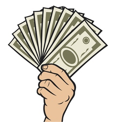 Money in the hand vector image