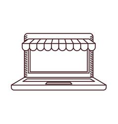 monochrome silhouette of laptop computer online vector image vector image